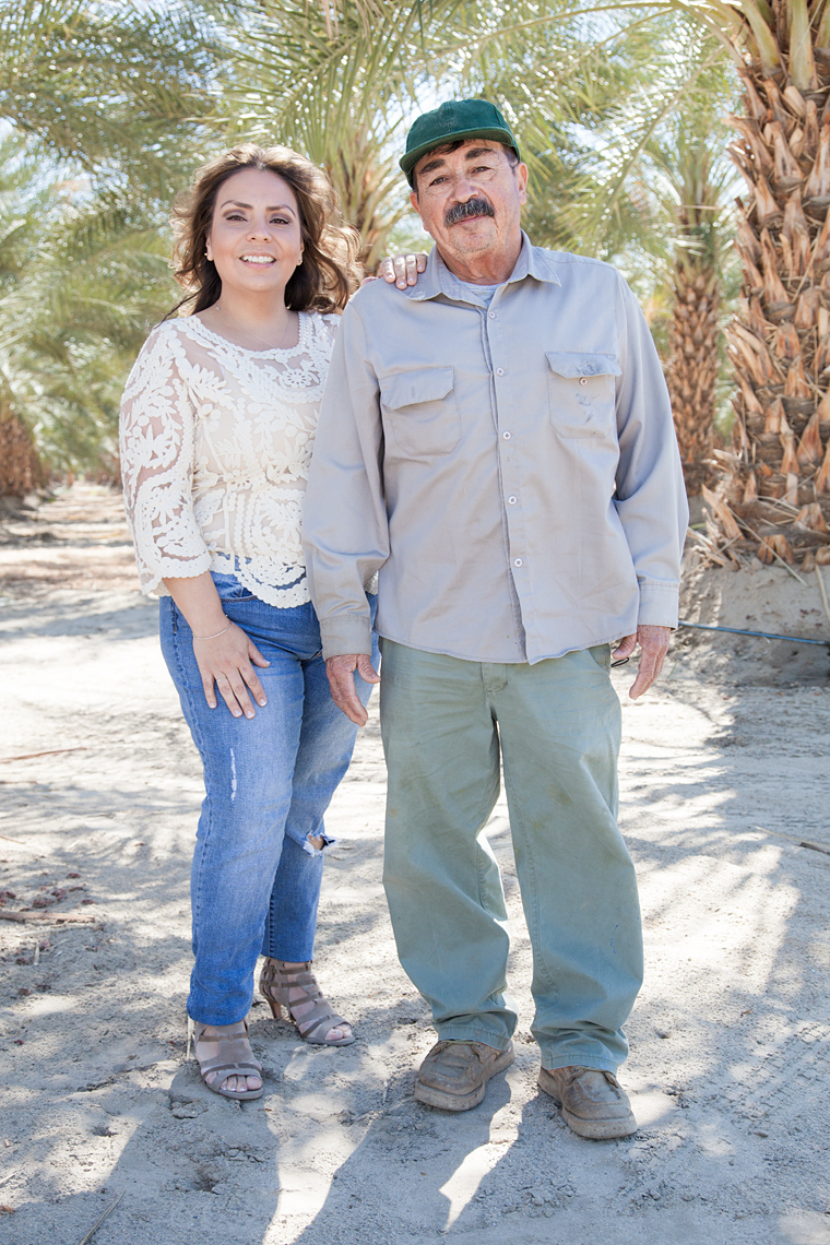 Maria and Simon Machuca photographed in a date orchard east of Mecca, Ca.